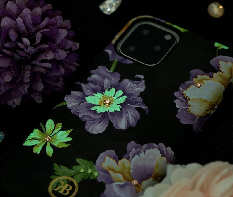 Kingxbar Forest glowing in the dark case decorated with original Swarovski crystals iPhone 11 Pro purple-nutielu.ee