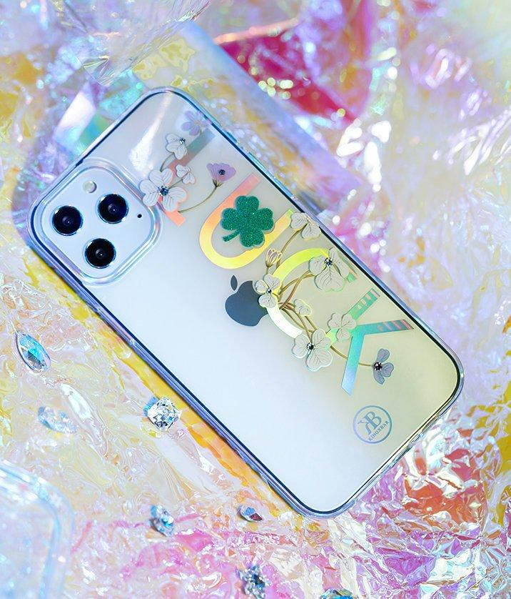 Kingxbar Lucky Series case decorated with original Swarovski crystals iPhone 12 Pro / iPhone 12 transparent (Luck)-nutielu.ee
