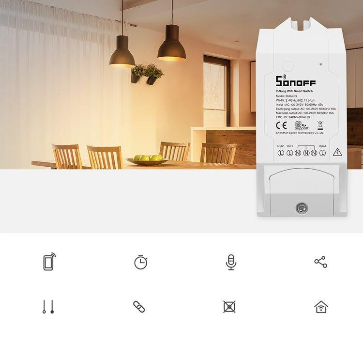 Sonoff DUAL R2 dual channel Wi-Fi Smart Switch white (IM160811001)-nutielu.ee
