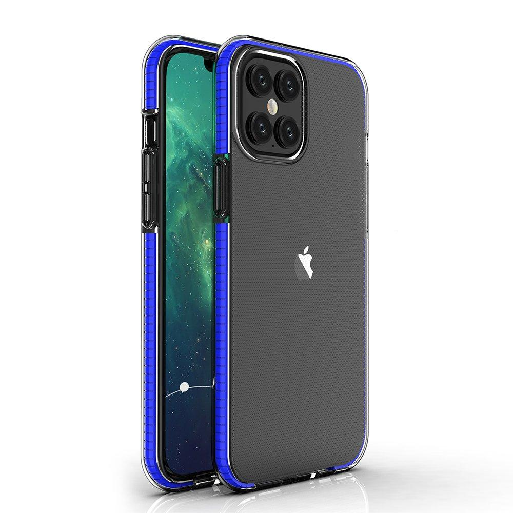 Spring Case clear TPU gel protective cover with colorful frame for iPhone 12 Pro Max dark blue-nutielu.ee