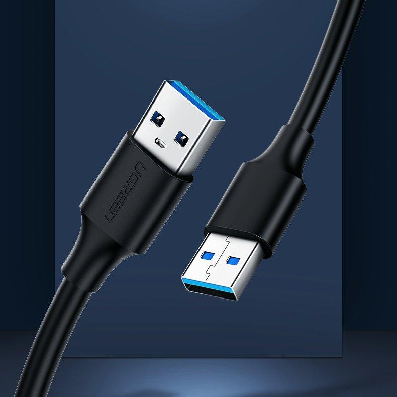 Ugreen USB 2.0 (male) - USB 2.0 (male) cable 1,5 m black (US128 10310)-nutielu.ee