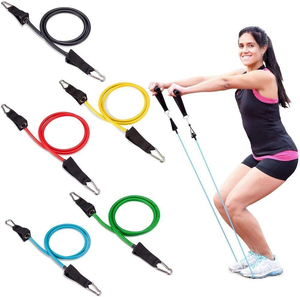 Wozinsky 11 Pack Exercise Resistance Bands with Handles Exercise Stretch Fitness Home Set Include 5 Stackable Exercise Bands with Carry Bag (WRTS5-01)-nutielu.ee