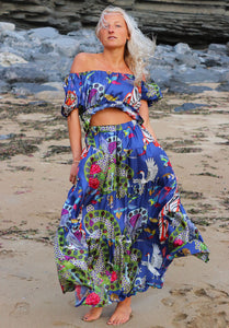 Blue Tiger Maxi Skirt