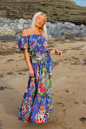 Fitted Blue Tiger Maxi Skirt