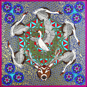 Sadhbh & the Swans 90cm Square Silk Scarf