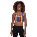 Rainbow Stripe Padded Sports Bra - Shabaca Designs