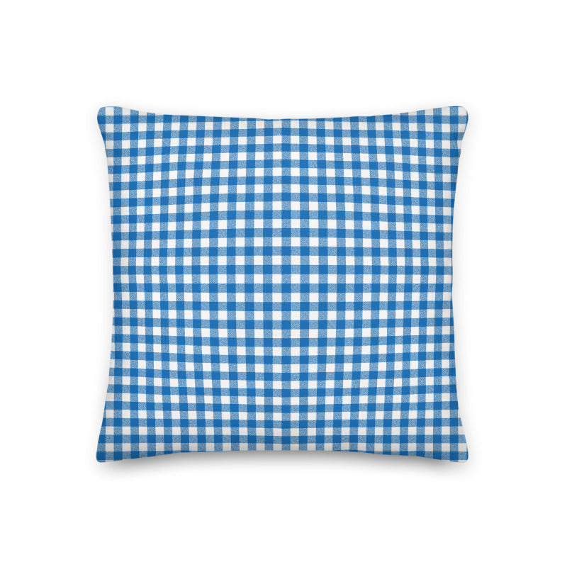 Blue Gingham Throw Pillow - Shabaca Designs