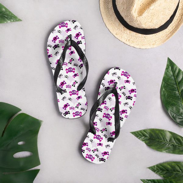 Girly Skulls Flip Flops - Shabaca Designs