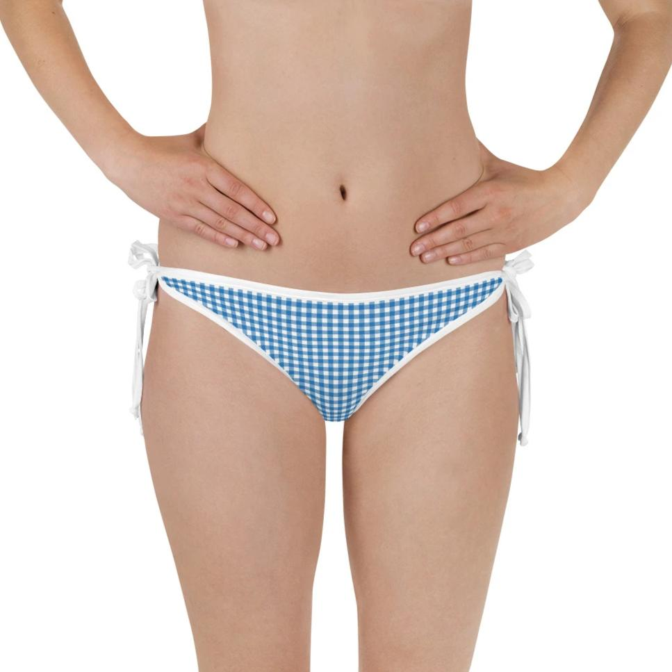 Blue Gingham Reversible Bikini Bottom - Shabaca Designs