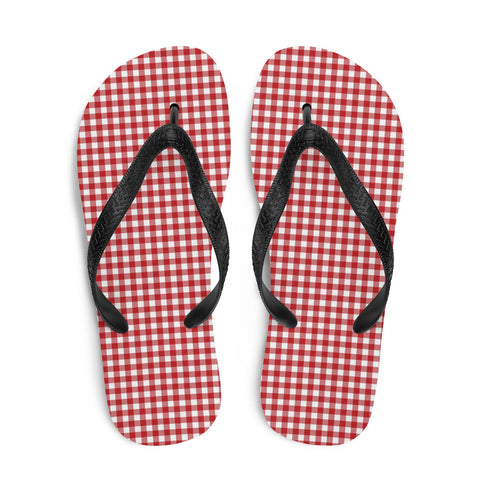 Red Gingham Flip Flops - Shabaca Designs