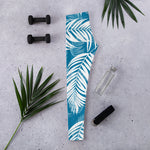 Palm Village Blue Leggings - Shabaca Designs