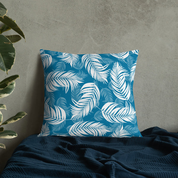 Palm Village Blue Throw Pillow - Shabaca Designs