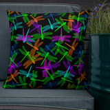 Dragonfly Glow Throw Pillow - Shabaca Designs