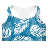 Palm Village Blue Padded Sports Bra - Shabaca Designs