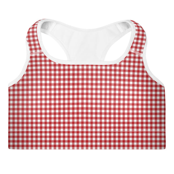 Red Gingham Padded Sports Bra - Shabaca Designs