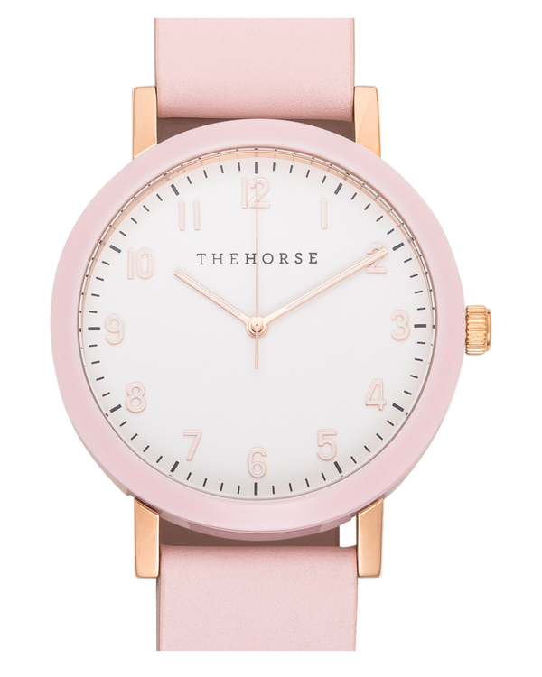 The Horse Resin Pink, White Dial Pink Leather Timepiece