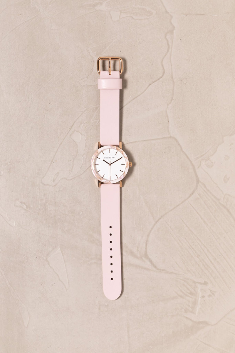 The Horse Mini Resin Nougat, Pink Leather Timepiece