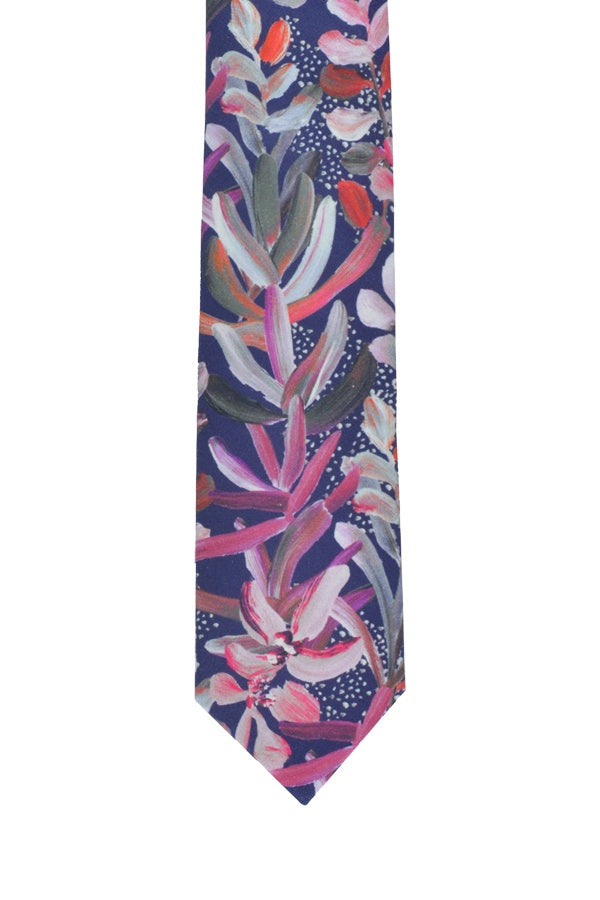 Peggy and Finn 'Protea' Navy Cotton Tie