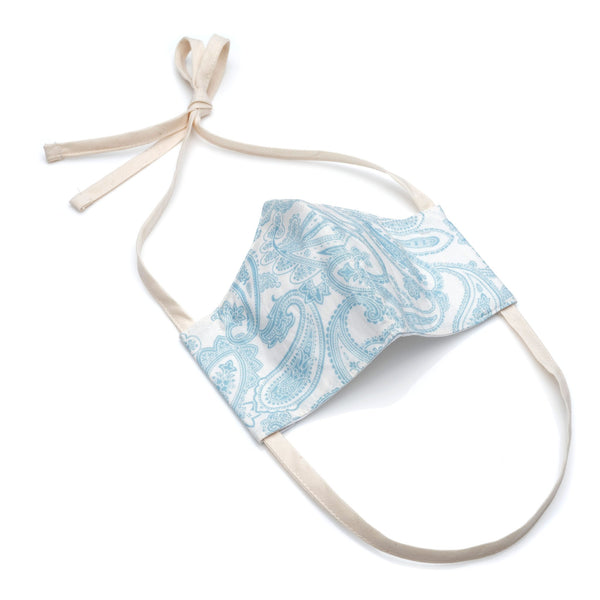 Face Mask in Sky Blue Paisley