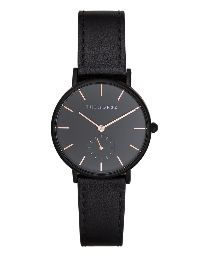 The Horse The Classic Matte Black Case Black Dial Rose Gold Indexing Black Timepiece