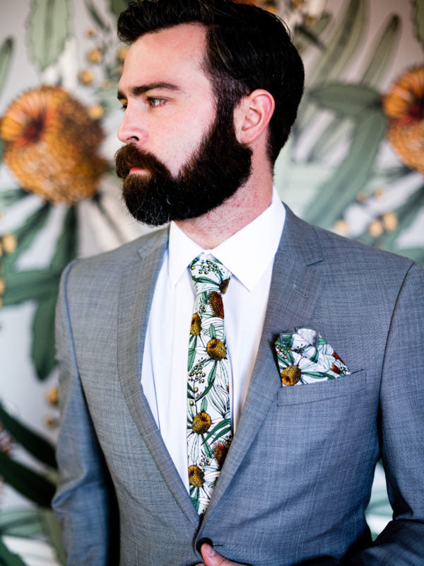 Peggy and Finn 'Banksia Grey' Cotton Tie