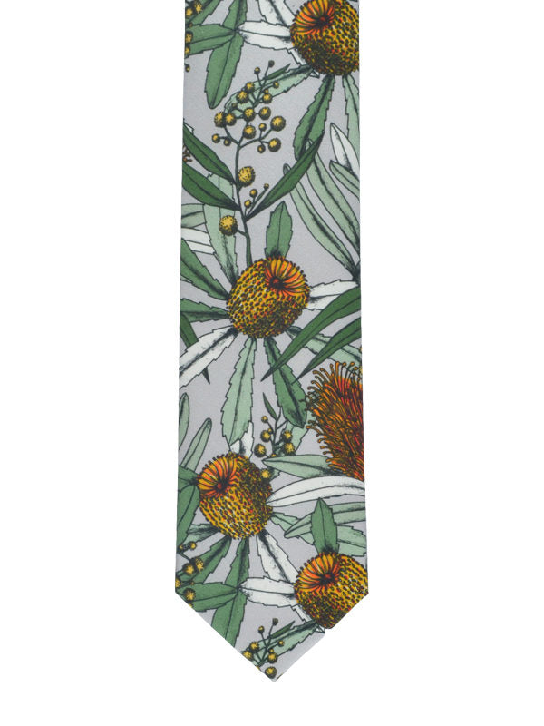 Peggy and Finn 'Banksia' Grey Cotton Tie