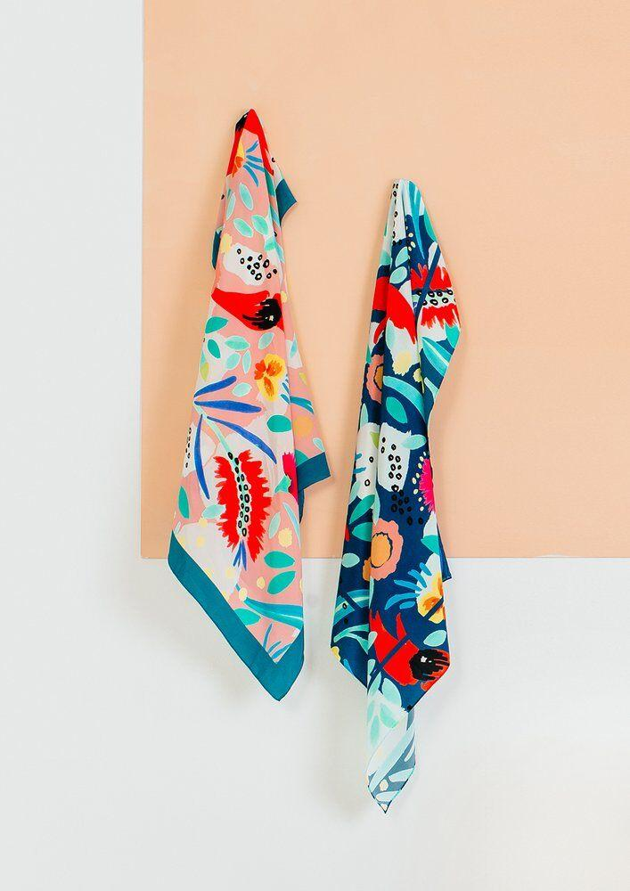 Buy Julie White Teal Abstract Oz Scarf - at Quirk Collective Online