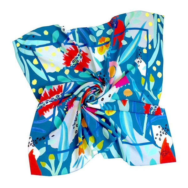 Julie White Teal Abstract Oz Scarf