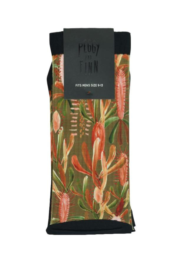 Peggy and Finn 'Grass Tree' Sage Socks