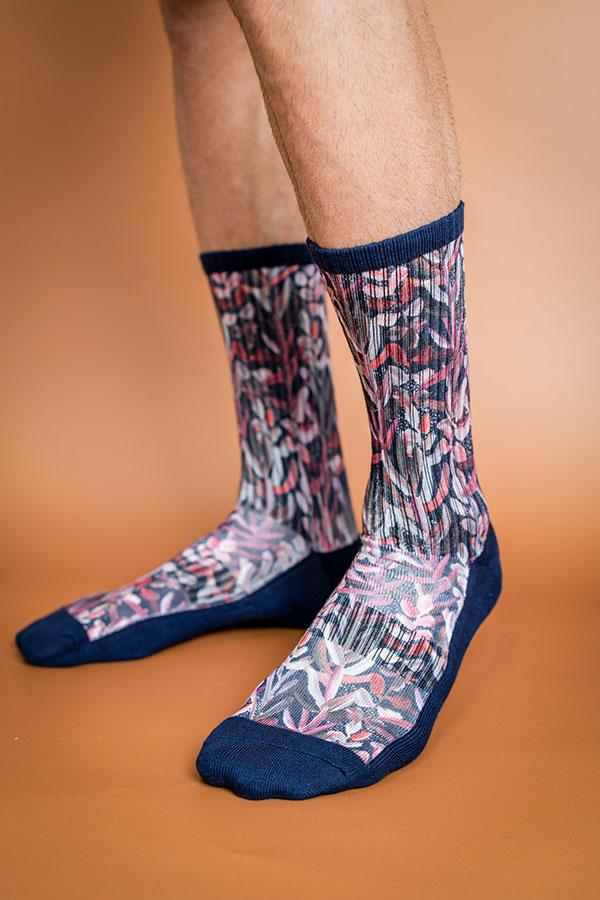 Peggy and Finn 'Protea' Navy Socks