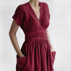 Seaside Tones Kimono Dress in Raspberry