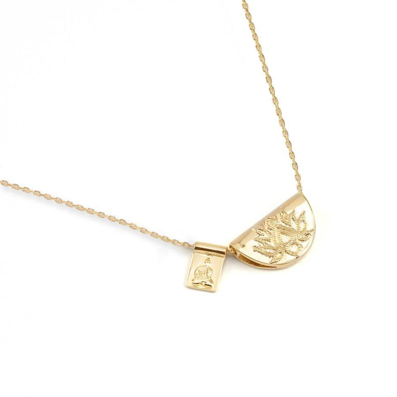 By Charlotte Lotus and Little Buddha Necklace in Gold