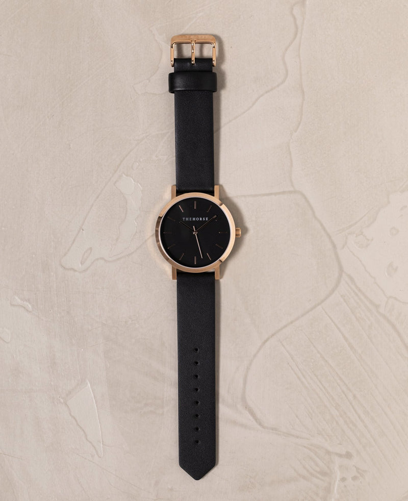 The Horse Original Polished Rose Black Timepiece