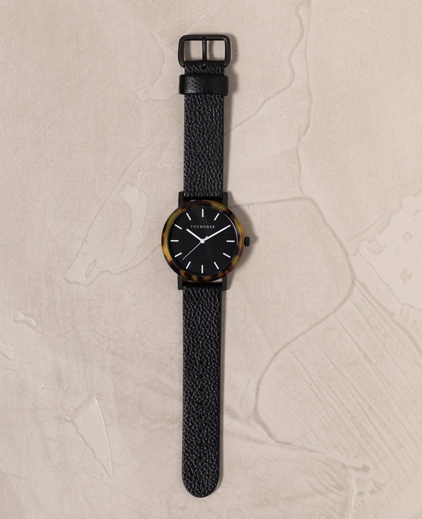 The Horse Resin Brown Tortoise Shell, Black Face Timepiece