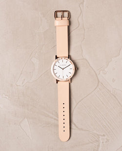 The Horse Resin Peach Speckle, Vegetable Tan Leather Timepiece