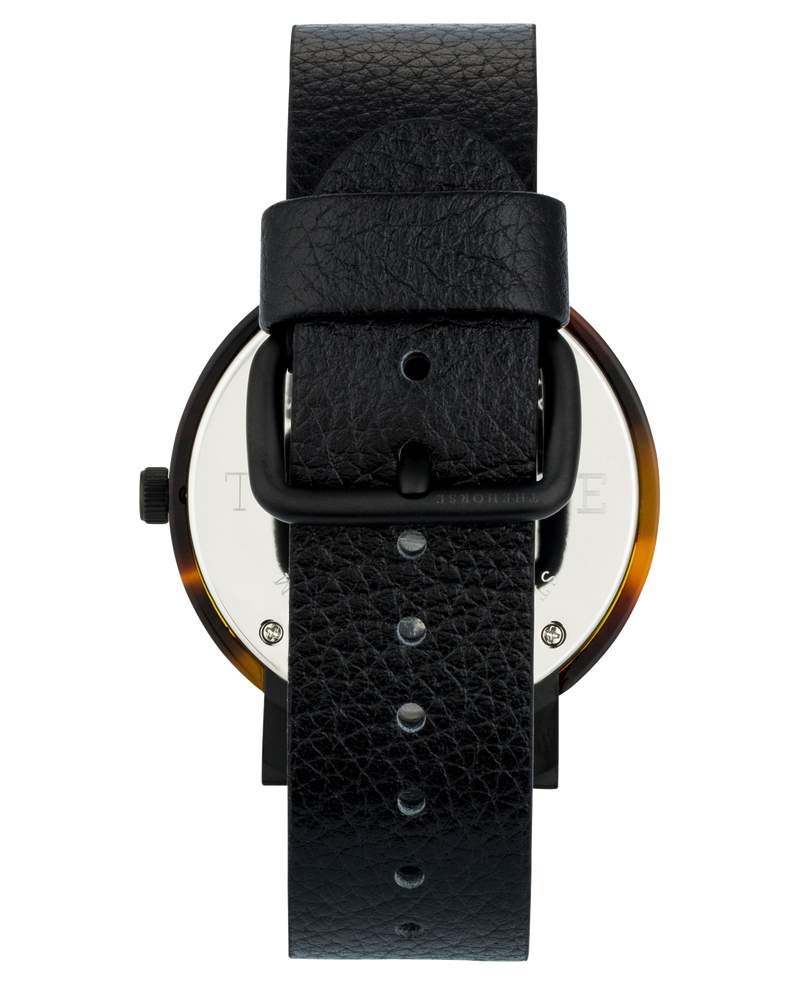 The Horse Mini Resin Brown Tortoise Shell, Black Leather, Black Face Timepiece