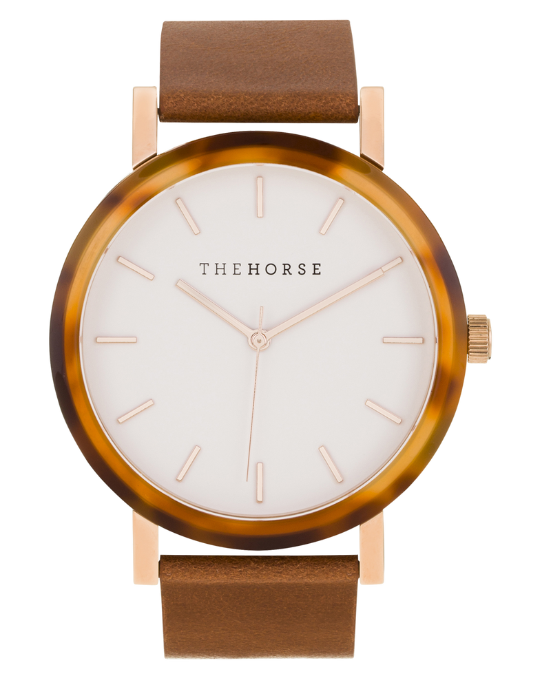 The Horse Resin Caramel Treacle Case, Tan Leather Timepiece