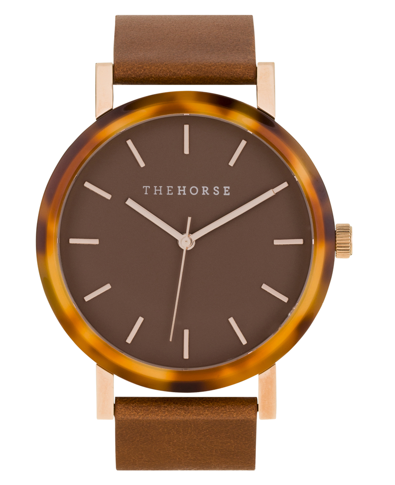 The Horse Resin Caramel Treacle Shell, Caramel Face, Tan Leather Timepiece