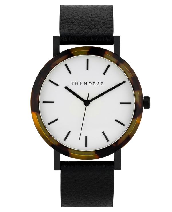 The Horse Mini Resin Brown Tortoise Shell, Black Leather, White Face Timepiece