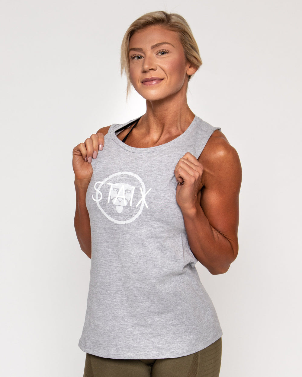 ALL DAY MUSCLE TANK WOMEN'S TANKS STAIX S LT GRAY