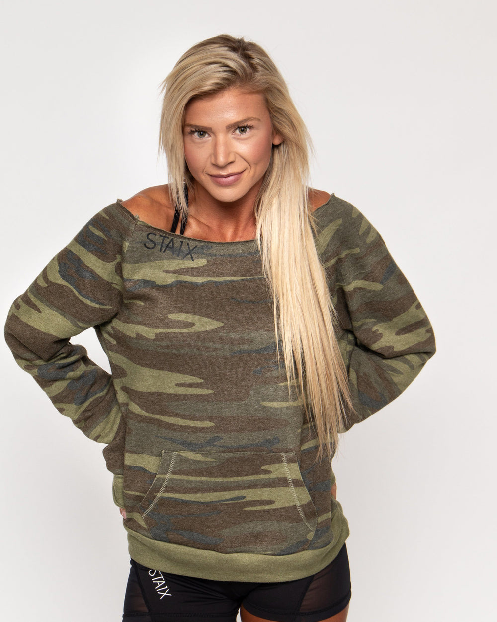 BREEZE SHOULDER CROP Women's Pullover STAIX XS CAMO