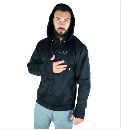 HEAVYWEIGHT HOODIE Men's Zip Up Hoodie (Grey) STAIX S BLACK