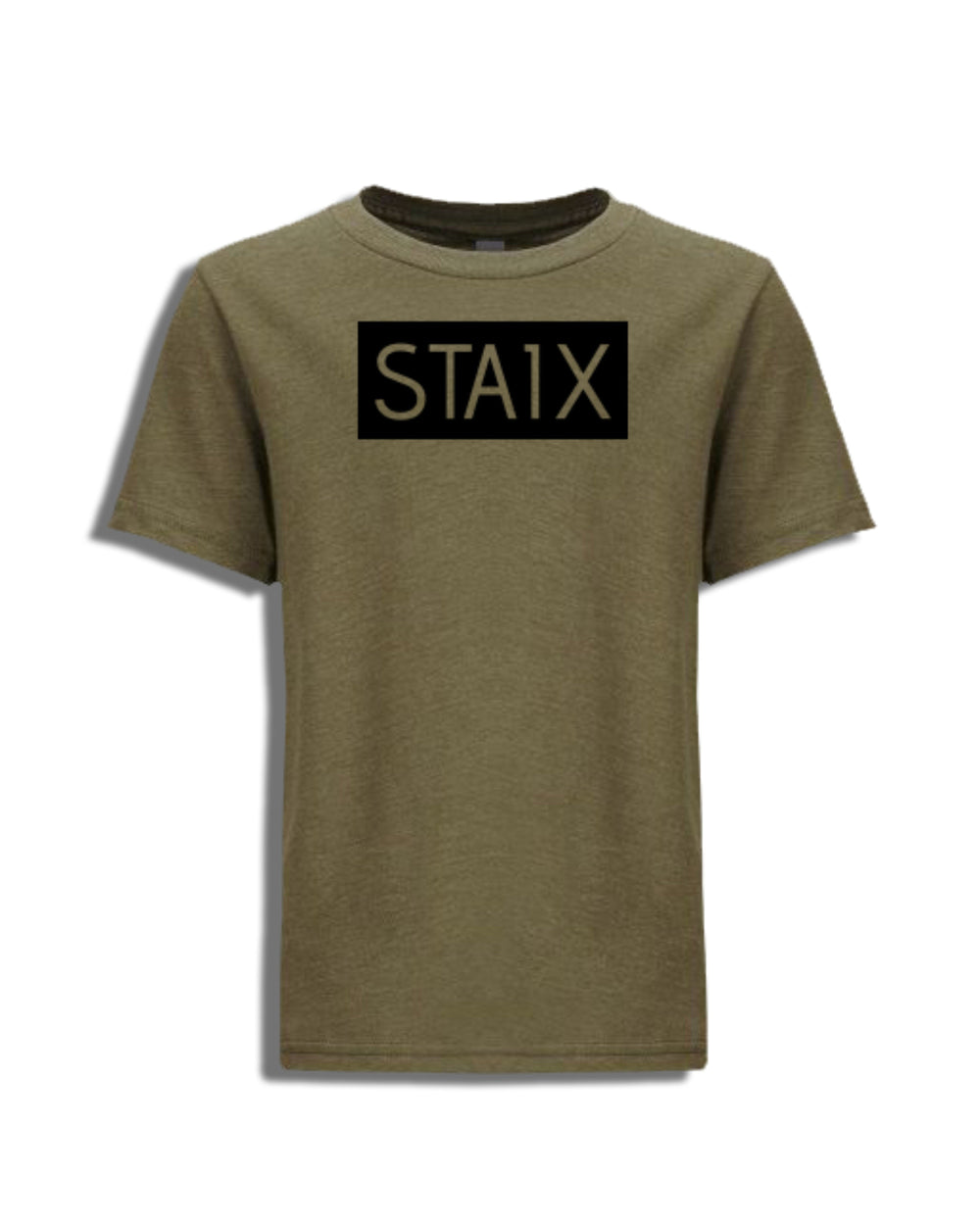 KIDS BOXER TEE - ARMY GREEN STAIX XS