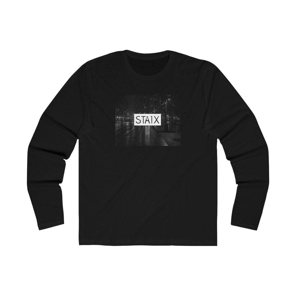 Men's Long Sleeve City Scape Tee Long-sleeve Printify Solid Black S