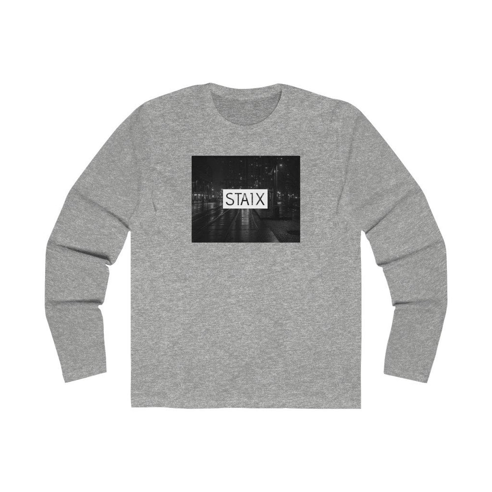 Men's Long Sleeve City Scape Tee Long-sleeve Printify Solid Heather Grey S