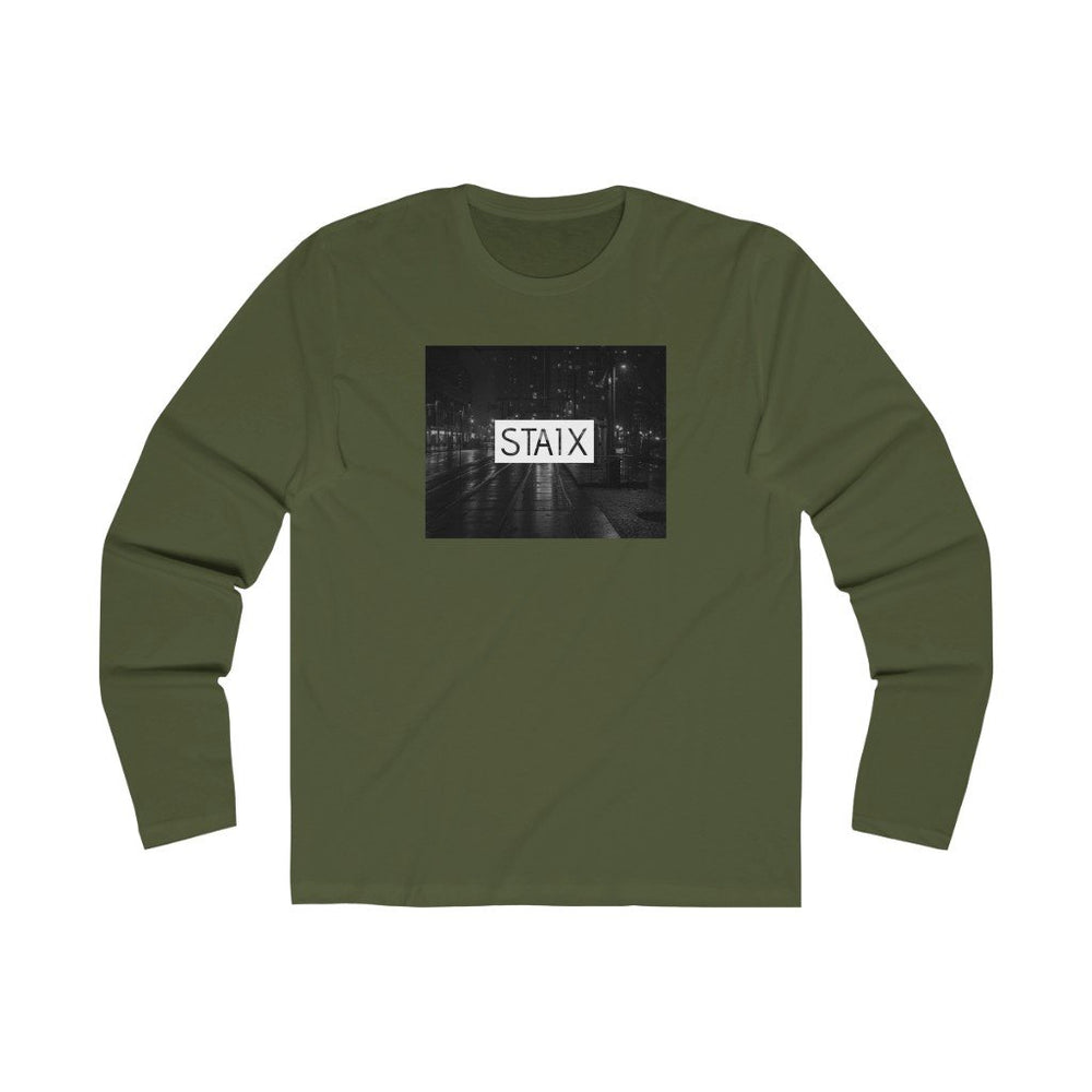 Men's Long Sleeve City Scape Tee Long-sleeve Printify Solid Military Green S
