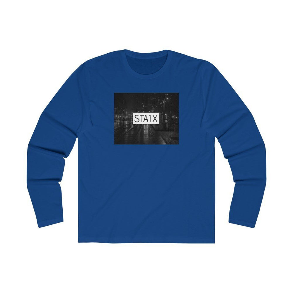 Men's Long Sleeve City Scape Tee Long-sleeve Printify Solid Royal S
