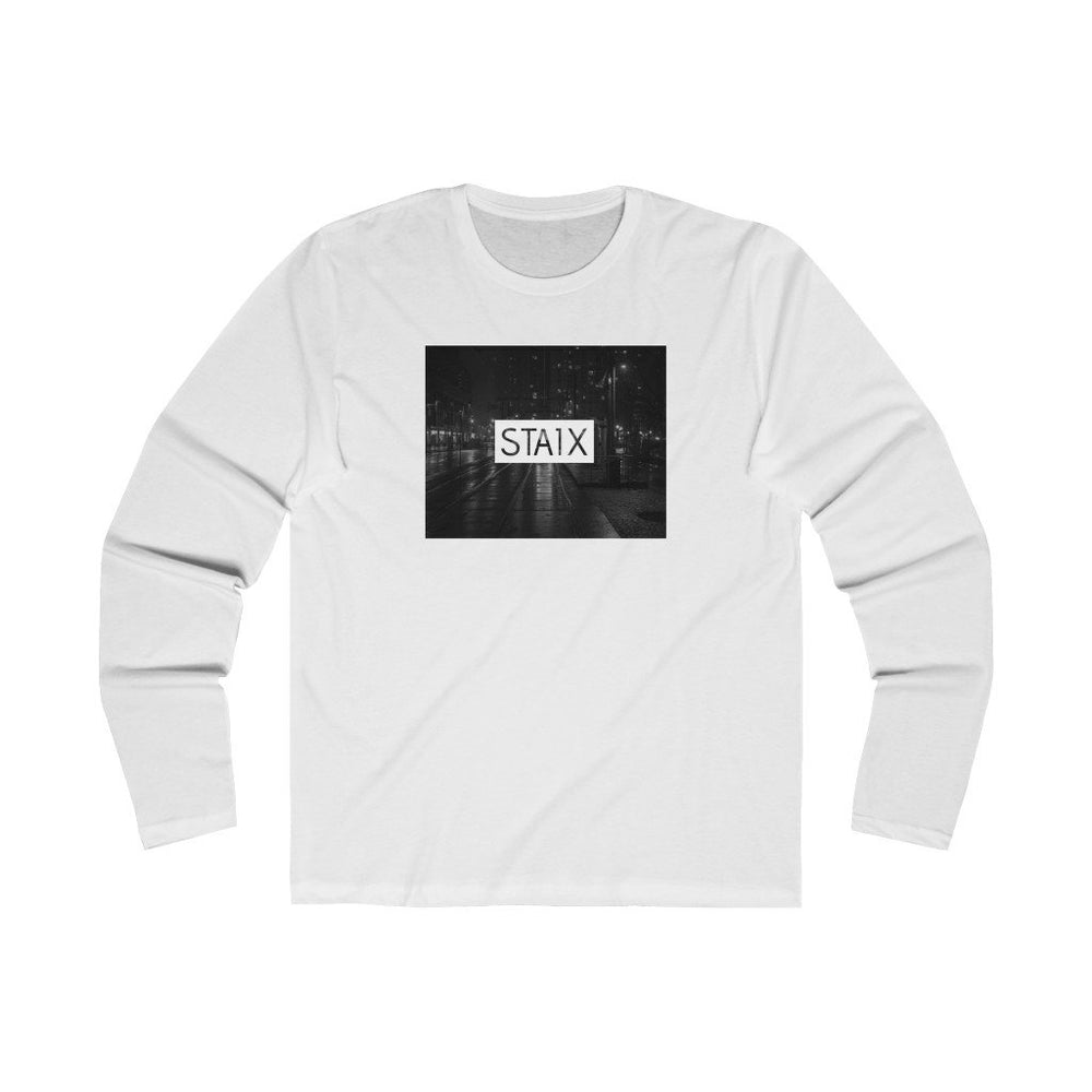 Men's Long Sleeve City Scape Tee Long-sleeve Printify Solid White L