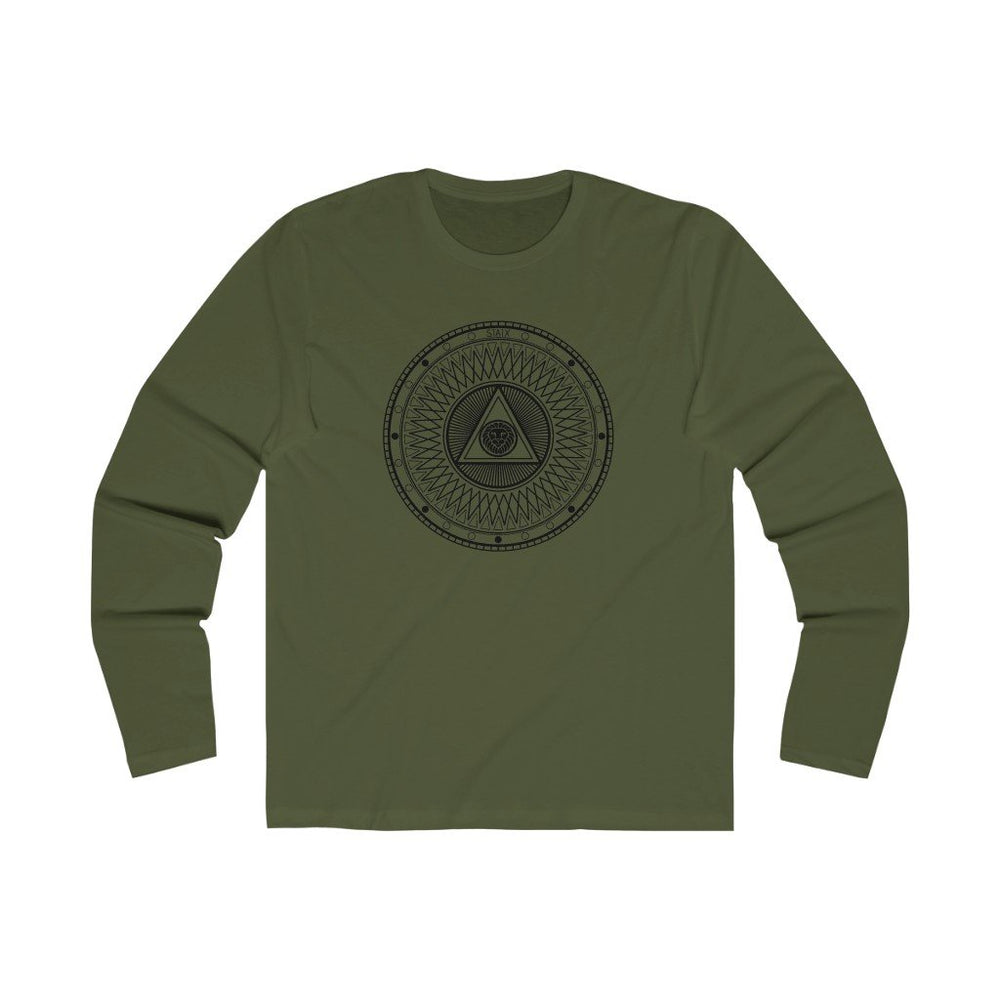 Men's Long Sleeve Crew Tee Long-sleeve Printify Solid Military Green S
