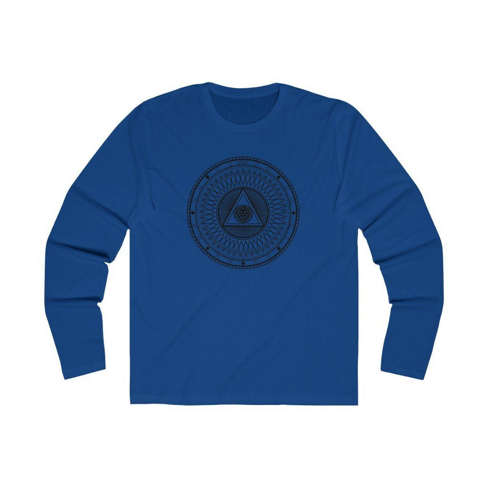 Men's Long Sleeve Crew Tee Long-sleeve Printify Solid Royal S